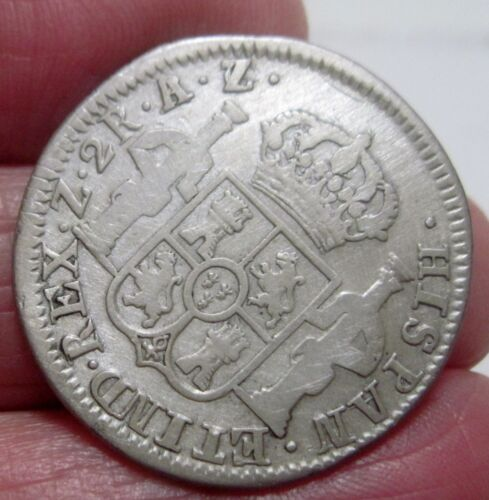 1821 AZ (ZACATECAS) 2 REALES (SILVER) MEXICO -- --War of Independence--scarce--