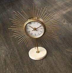 Mid Century Modern Style Marble Gold Starburst Table Desk Clock NEW
