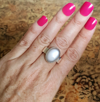 Moonstone Ring, size 8 1/2 US, Sterling Silver, Healing Gemstone  South Brisbane Brisbane South West Preview