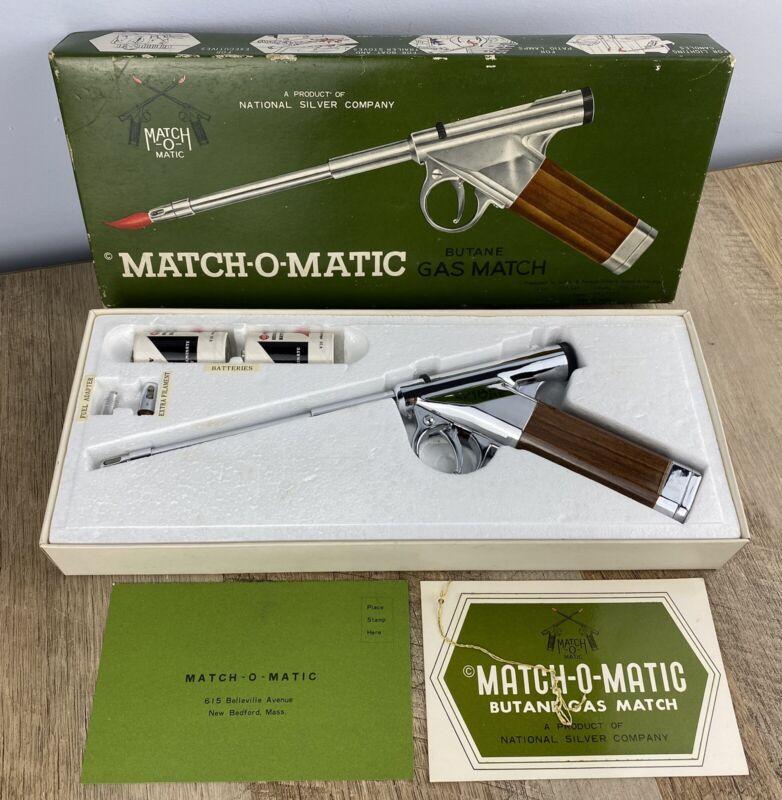 Vintage Match-O-Matic Butane Gas Match Pistol Lighter Original Box