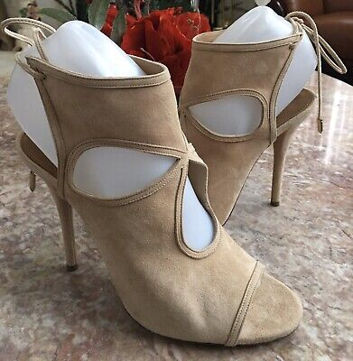 Aquazzura Firenze Suede Sexy Thing Cutout Bootie 7 US/ 37.5 Made In Italy, $795