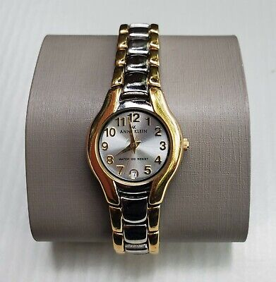 AK Anne Klein Round Watch Quartz WR 100Ft Two Tone Gold / Silver Big Numbers