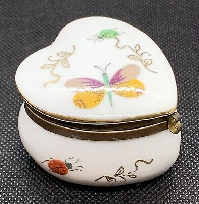 Heart Shaped Porcelain Gold Trim TRINKET BOX Hinged Lid Butterfly Lady Bug