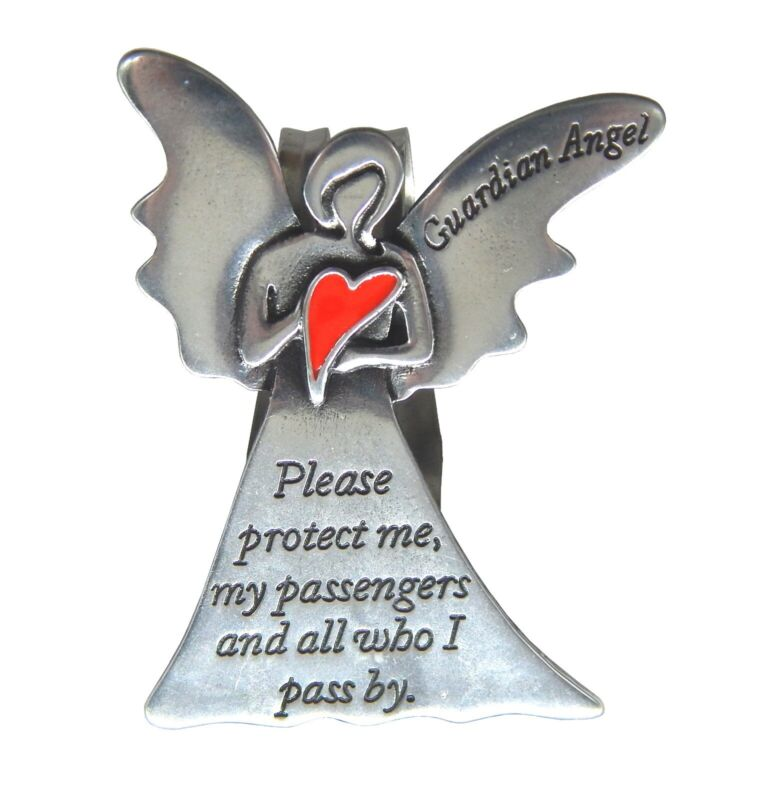 Red Heart Guardian Angel Protect Me and My Passengers Car Visor Clip