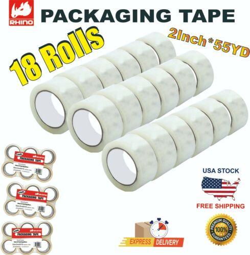 "RHINO Carton Sealing Clear Packing Tape Box Shipping 2mil 2""x55Yard 18 ROLLS"