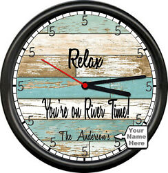 Lake Cabin Beach River Time  House Rustic Wood Look Style Sign Wall Clock NEW