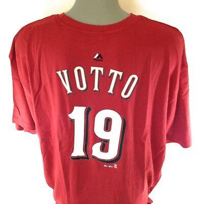 NEW Mens Majestic Joey Votto #19 Cincinnati Reds B&T Baseball Tee (Cincinnati Reds Baseball T-shirt)