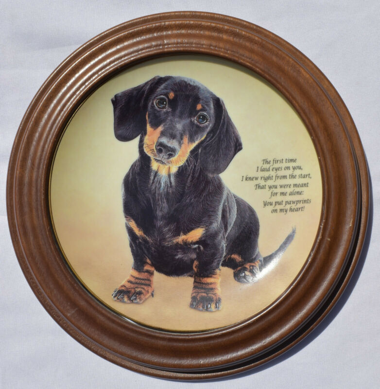 Pawprints On My Heart Cherished Dachshund The Danbury Mint Wooden Frame