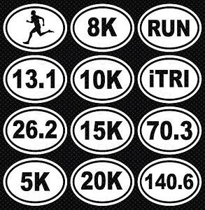 Oval Running Triathlon Decal 13.1, 26.2, 5k, 8k, 10k, 15k, 20k, RUN, iTRI, 70.3