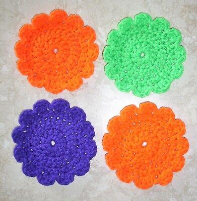 SET OF 4 ROUND COASTERS, Crochet, NEW, Halloween Colors, HANDMADE, My Own - Crochet Halloween Coasters