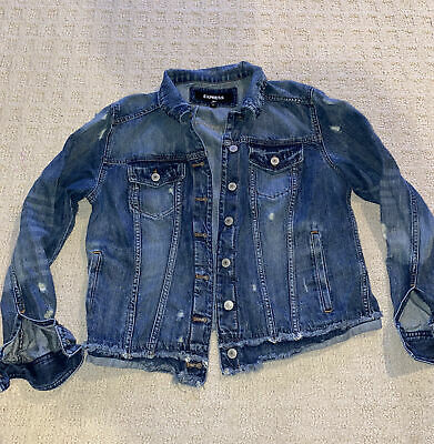 Express Denim Jean Jacket Sz Large 100% Cotton Medium Blue J. Destructed Crew