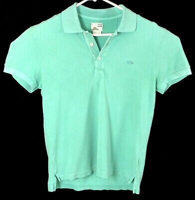 Men's LACOSTE Teal Vintage Wash Short Sleeve Pique Polo Shirt Size 4 Small
