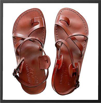 Camel Jesus Sandals Genuine Leather Greek Roman For Men Shoes US 5-15 EU - Mens Roman Sandals