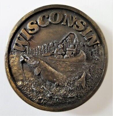Vintage Wisconsin Fishing Belt Buckle Brass The Shopkeeper 1978 CB2