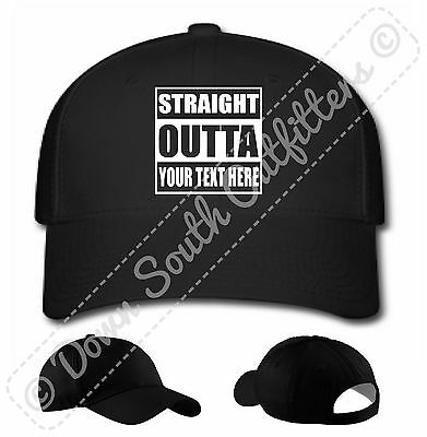 Custom Personalized Straight Outta Your Text Baseball Hat Ball - Personalized Baseball