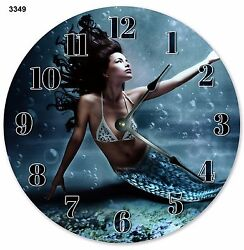 10.5 COOL UNDERWATER BLUE MERMAID PORTRAIT - Large 10.5 Wall Clock - 3349