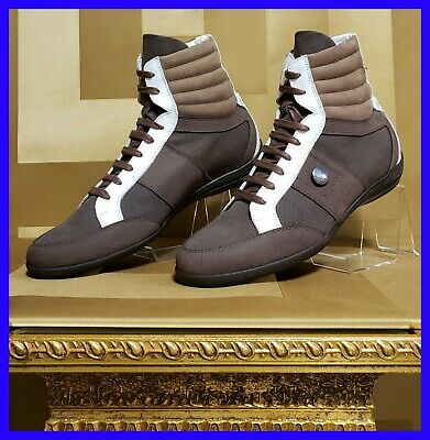 NEW VERSACE COLLECTION HIGH-TOP BROWN LEATHER and TEXTILE SNEAKERS 42 - 9