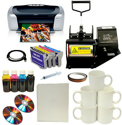 Mug Cup Heat Press Printer Dye Sublimation Refills Ink Mug Paper Startup Bundle