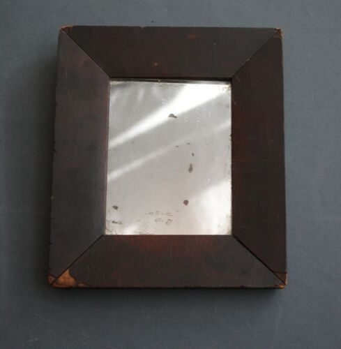 19TH C SMALL OGEE COUNTRY MIRROR IN GREAT ATTIC DRY RED PAINT AND ORIGINAL GLASS