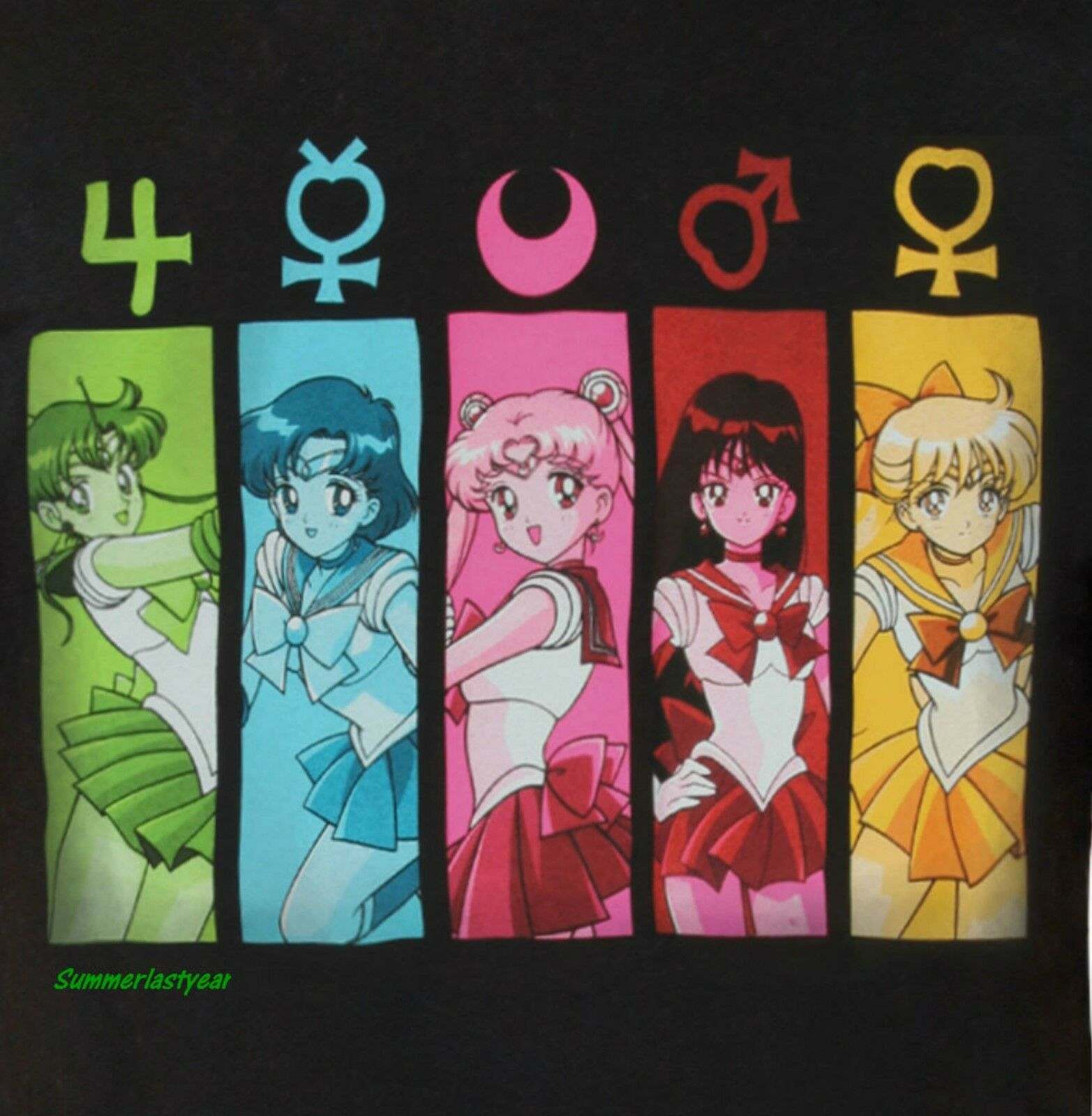 Sailor Moon Group With Symbols T Shirt For Adults Free