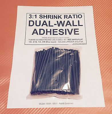 18 3mm I.d Black 4 50pcs Dual-wall Adhesive Lined 31 Heat Shrink Tubing