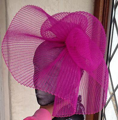 Hot pink fascinator millinery burlesque wedding hat hair piece ascot  bridal