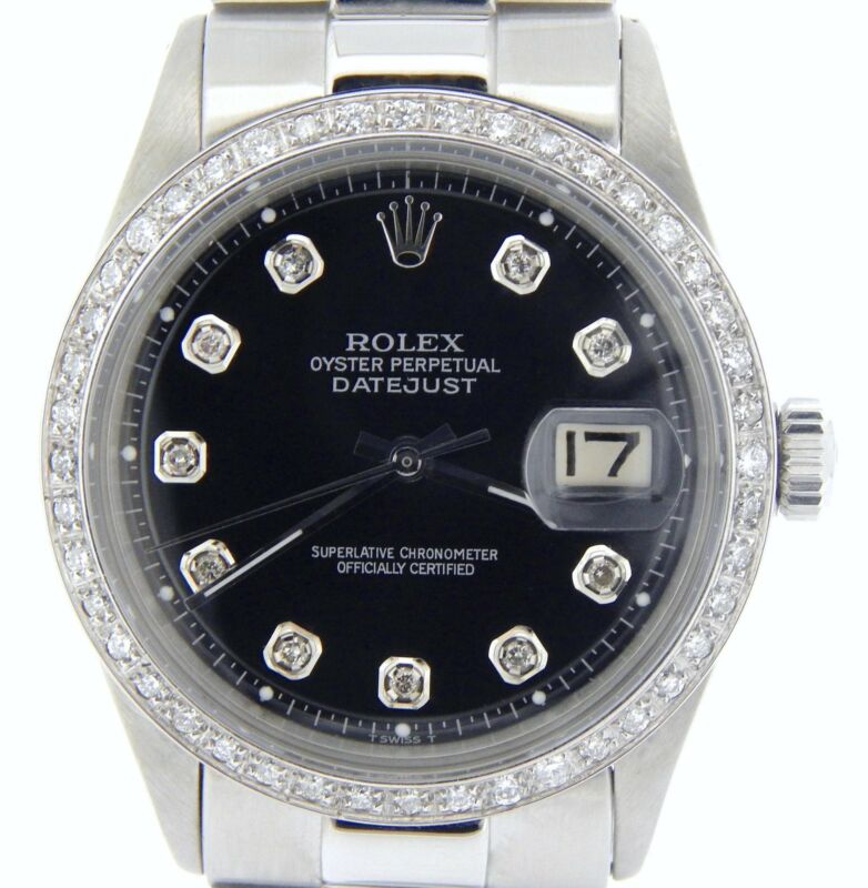 Rolex Datejust Mens Stainless Steel Watch Black Diamond W/ President Style Band