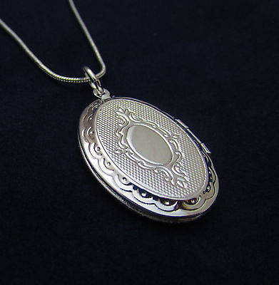 Box Locket (Sterling Silver Oval Locket Pendant Necklace Photo & 18