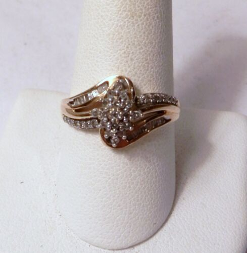Vintage Diamond Cluster 10K Gold Ring 2.7 Grams Size 9.75 Round Baguette 1 Carat