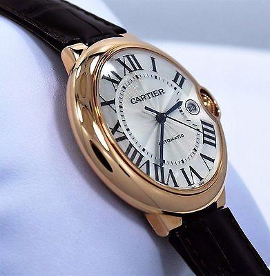 Cartier Ballon Bleu Jumbo 42mm W6900651 18K Rose Gold Leather Watch *UNWORN*