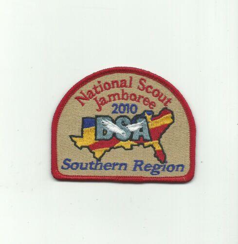 BI SCOUT BSA 2010 NATIONAL JAMBOREE SOUTHERN REGION PATCH RED RE TAN BKG 100TH !