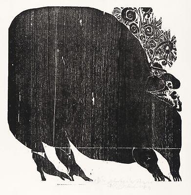 ALBERT SCHINDEHÜTTE - DIE SCHWARZE WITWE - Holzschnitt 1968