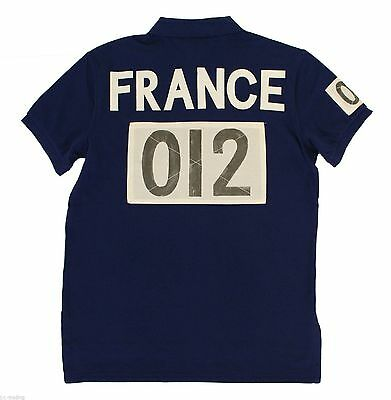 Ralph Lauren Men Navy  Shirt France Flag Big Pony Small S  Custom-Fit RL Olympic