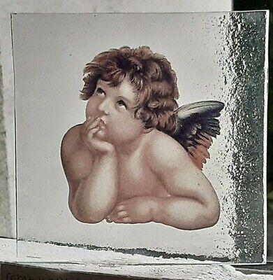 Stained Glass Cherub Angel Kiln fired piece of glass 10.5 cm x 10,5 cm
