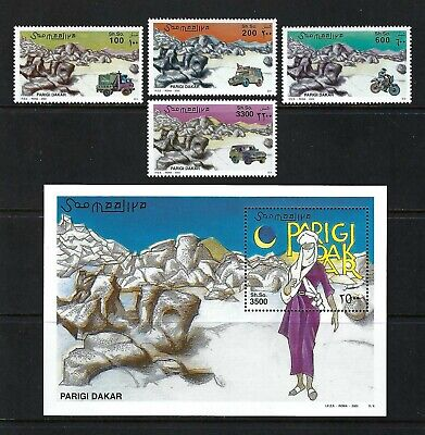 Somalia 2002 Mi#967-70, #971 Block 95  Paris-Dakar Rally  MNH MS/SS Set $37.95