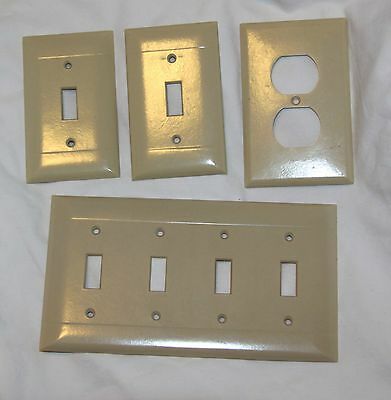 VINTAGE USA 4 IVORY BAKELITE SIERRA & EAGLE SWITCH PLATE OUTLET COVERS! for sale  Salina