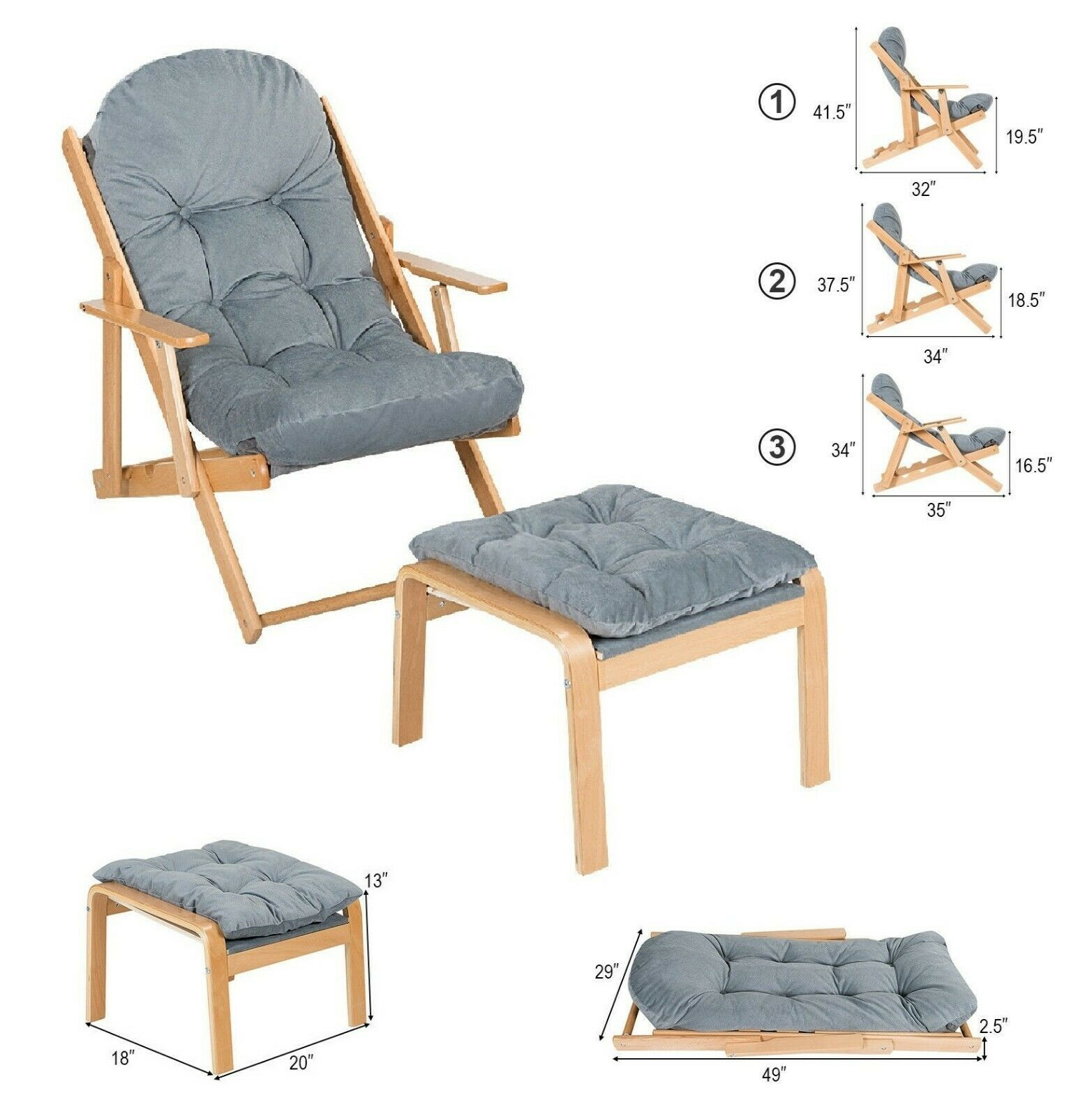 Lounge Chair Indoor Outdoor Foldable Recliner With Footrest