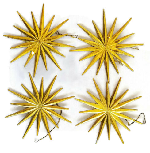 CHRISTMAS STARS Vintage Ornaments DRESDEN GERMANY Foil Starburst SILVER & GOLD