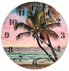 10.5 BEACH PALM TREES - Large 10.5 Wall Clock - Home Décor Clock - 3236