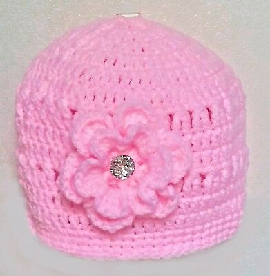 PINK ANGEL PREEMIE BABY GIRLS HAND CROCHETED HAT small diamante romany bling  Pink Angel Hat