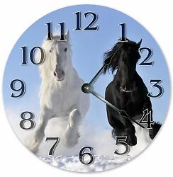 10.5 BLACK AND WHITE MUSTANGS CLOCK - Large 10.5 Wall Clock Home Décor - 3166