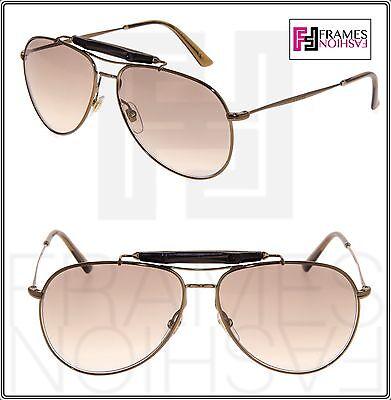 19cd3a1f100 GUCCI 2235 Bronze Metal Aviator Brown Gradient Bamboo Bar Sunglasses GG2235S
