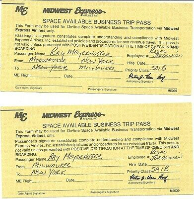 2 NICE  EMPLOYEE BUSINESS TRAVEL PASSES  - MIDWEST EXPRESS (Midwest Airlines)