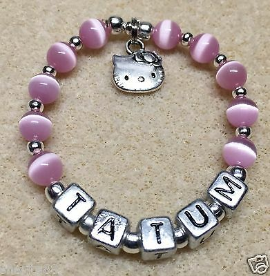 Girls Baby Child Name Personalized Hello Kitty Charm bracelet (Made to Order)