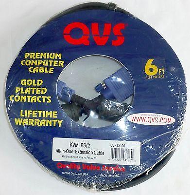 QVS PREMIUM COMPUTER CABLE 6' KVM P5/2 EXTENSION C3P2X-06 -