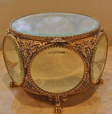 Vintage Ormolu Gold Filigree Beveled Glass Vitrine Jewelry Casket Trinket Box