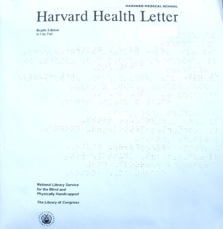 Harvard Health Letter - August 2017 (Braille for the blind)