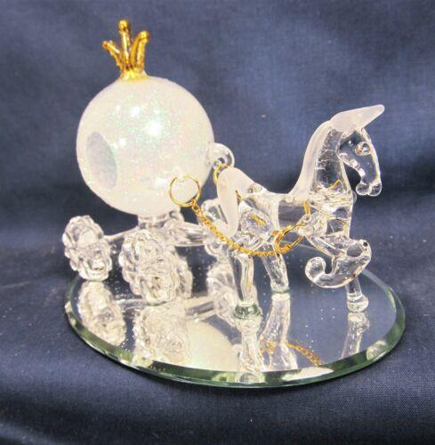 Horse Drawn Fairy Coach w/ Gold Crown & Reins Hand Blown Glass Fantasy Decor