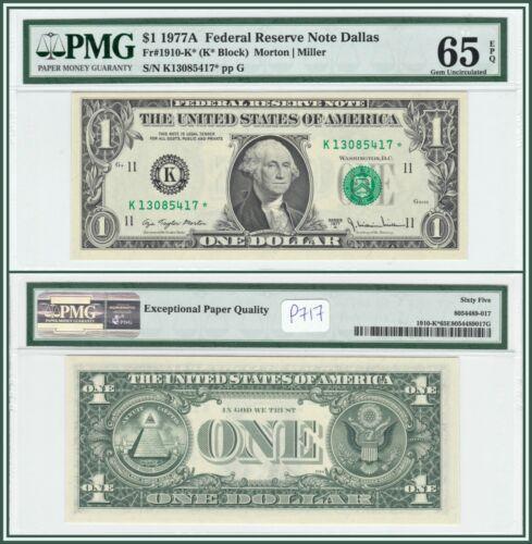 1977A Star $1 Dallas Federal Reserve Note PMG 65 EPQ Gem Unc FRN Dollar