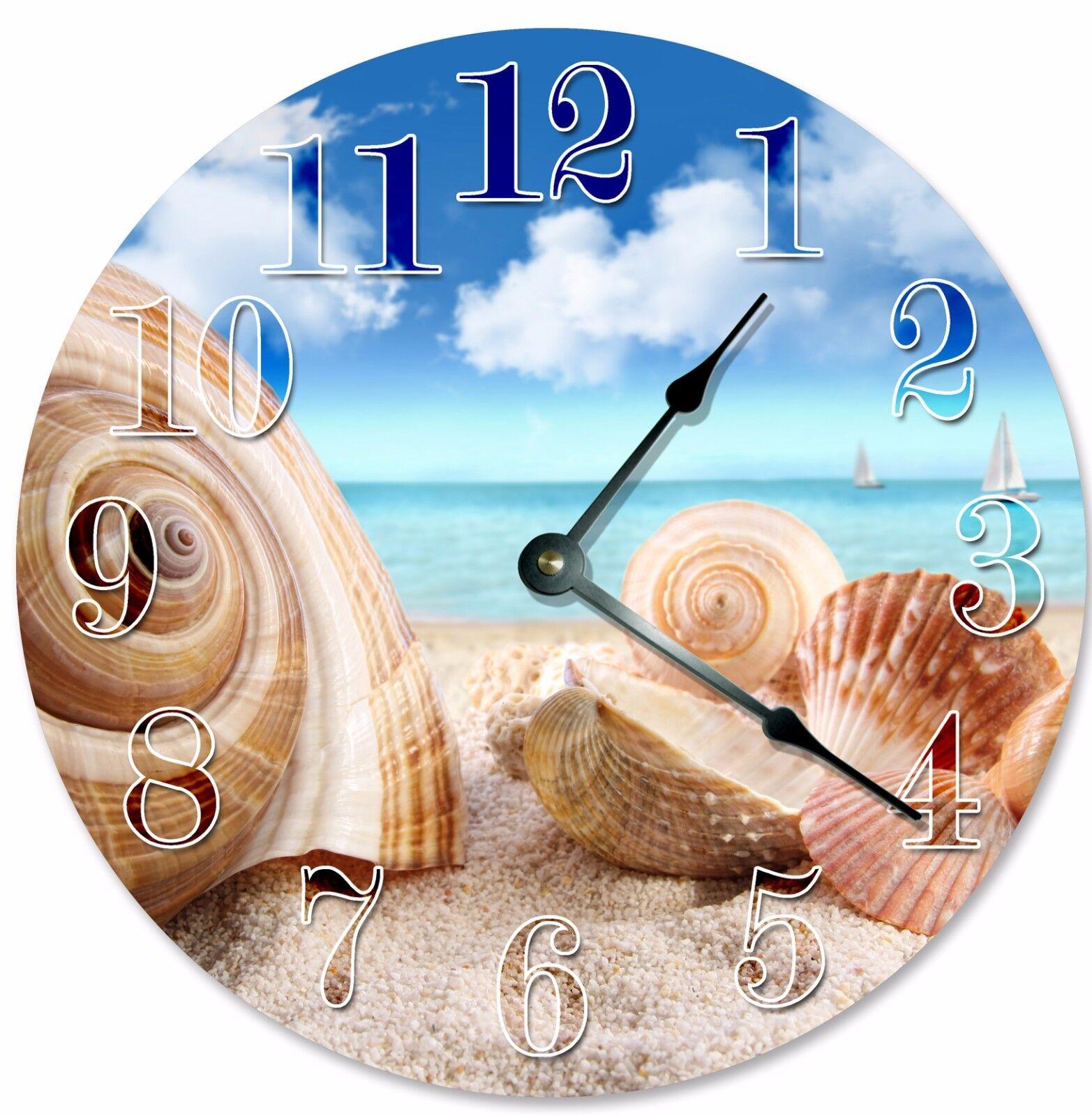 "SEA SHELLS ON SHORE Clock - Large 10.5"" Wall Clock - 2085"